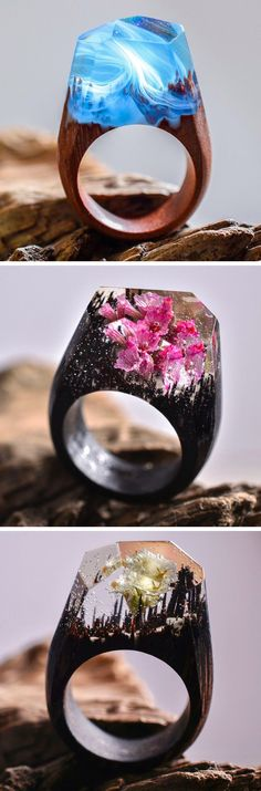 The jeweler Secret Wood (previously) has been producing even more miniature cities and landscapes, each ethereal universe living inside a resin geometric dome on top of their handmade wooden rings.