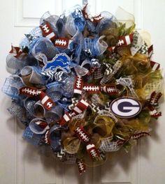 HOUSE DIVIDED Burlap Wreath NFL Detroit by DesignTwentyNineSC, $87.00