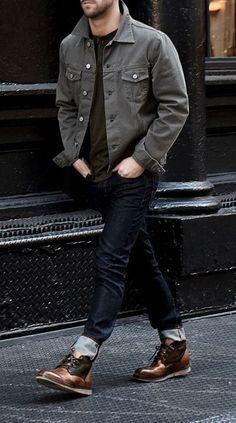 The Ultimate Guide To Boots – Pocket Stylist Grey Denim Jacket Mens, Denim Shirt, Men's Denim, Denim Jackets, Men's Jeans, Casual Blazer, Casual Jeans, Jeans Style, Men Casual
