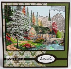 Dogwood Chapel Thomas Kinkade stamp from Cornish Heritage Farms.  Colored with Spectrum Noir Markers