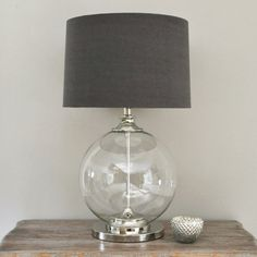 Glass Ball Table Lamp & Grey Shade (Table and bedside lamp)