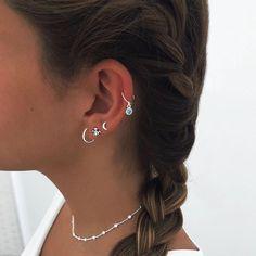 Unique Ear Piercings, Ear Piercings Chart, Ear Peircings, Cute Piercings, Multiple Ear Piercings, Ear Jewelry, Cute Jewelry, Jewelery, Jewelry Accessories