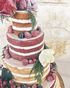 Multi-flavor open layer wedding cake by 2tarts Bakery