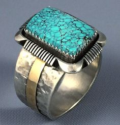 19g BIG Navajo Sterling Silver 14k Gold #8 Spiderweb Turquoise MENS Ring Sz 11.5