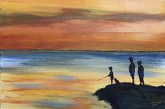 Sunset fishing - Acrylic painting