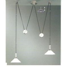 Wofi LINCOLN 2 light matt nickel rise & fall ceiling pendants