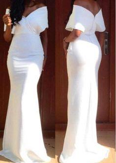 White V Back Off the Shoulder Maxi Dress with cheap wholesale price, buy White V Back Off the Shoulder Maxi Dress at rotita.com !