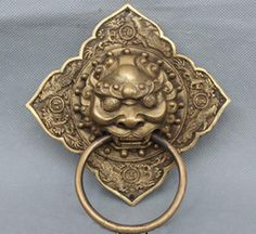 Lucky Chinese China Fengshui Dragon Phoenix Brass Lion Mask Door Knocker