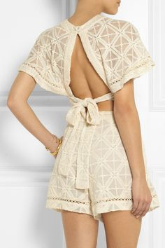 Zimmermann | Haze cropped embroidered silk-georgette top | NET-A-PORTER.COM
