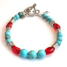 Women's Turquoise and Cherry Red Beaded Bracelet by DungleBees