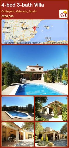 Villa for Sale in Ontinyent, Valencia, Spain with 4 bedrooms, 3 bathrooms - A Spanish Life Garden Pool, Garden Landscaping, Fitted Bathroom, Valencia Spain, Murcia, Seville, Private Pool, Malaga, Rustic Style