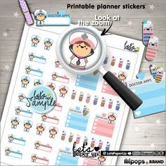 Medicine Stickers, Printable Planner Stickers, Prescription, Erin Condren, Medication, Kawaii Stickers, Planner Accessories, Medicine Flags