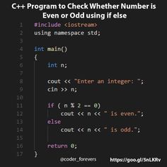 C Program to Check Number Even or Odd - C Programming - Ideas of C Programming - C Program to Check Number Even or Odd coderforevers C Programming Learning, C Programming Tutorials, Computer Programming Languages, Coding Languages, Computer Coding, Python Programming, Computer Science, Coding Jobs, Coding For Beginners