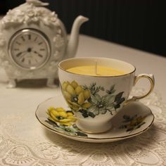 Teacup 0014 Cottage Garden Scent ~ Lavender, Tangerine & Vanilla essential oils   Beautiful Daisy Designs Teacup Candles, Cottage, Organic Essential Oils, Candle Making, Bone China, Allergies, Tea Cups, Pure Products, Beautiful
