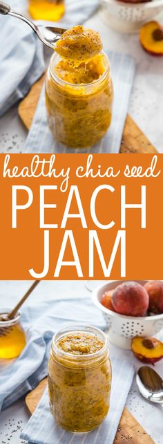 This Healthy Chia Seed Peach Jam is a healthy, easy homemade jam recipe made with fresh peaches, chia seeds and honey! Only 3 ingredients and no refined sugar added! Recipe from thebusybaker.ca! #chiaseed #healthy #vegetarian #norefinedsugar #sugarfree #jam #canning #homemade #harvest #peaches #fruit via @busybakerblog