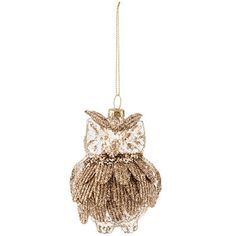Champagne Metallic & Glitter Glass Owl Ornament
