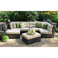 AE Outdoor Hillborough 4-Piece All-Weather Wicker Patio Sectional with Sunbrella Fabric