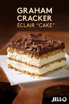 This Graham Cracker Éclair recipe makes dessert a piece of cake! Just start with JELL-O Vanilla Flavor Instant Pudding, add milk and whisk. Then add COOL WHIP Whipped Topping and mix again. Pour over a delicious bed of crunchy graham cracker squares, lay 13 Desserts, Dessert Recipes, Quick Dessert, Layered Desserts, French Desserts, Dessert Simple, Plated Desserts, Baking Recipes, Chocolate Eclair Cake