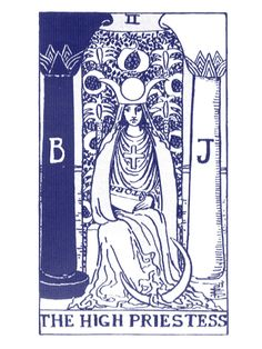 The High Priestess Tarot Card. 'Boaz and Jachin were two copper, brass or bronze pillars which stood in the porch of Solomon's Temple' Wiki More info at the following links http://www.tarotforum.net/showthread.php?t=80199 http://www.keen.com/documents/works/articles/tarot/the-high-priestess-tarot-  card.asp