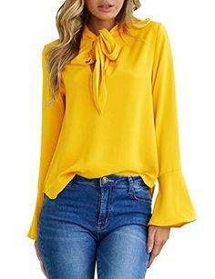 37a9d82d00592a Aitos Blusen Damen Langarmshirt Oberteile V-Ausschnitt Flare Hülse Elegant  Chic Lose Vintage Hemd Tuniken