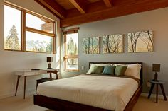 Whistler Mountain Modern - contemporary - bedroom - vancouver - by Maza Interior Design I love the pictures above the bed.