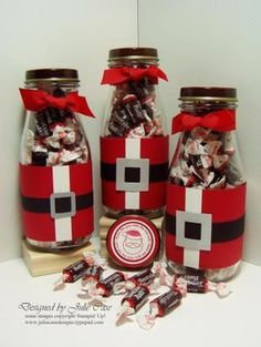 """This would be cute for work gifts! So easy to do. Just decorate a glass container like """"Santa"""" and add your favorite candy."""