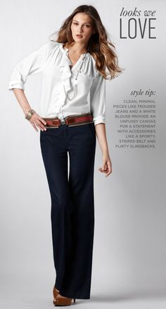 Ruffle shirt with trouser jeans