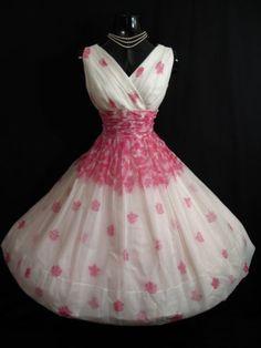 Vintage 1950's 50s PINK White Floral CHIFFON Organza Party Dress | eBay