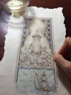1 Illumination Art, Turkish Art, Labor, Illuminated Manuscript, Summer Art, Map Art, Islamic Art, Indian Art, Art Boards