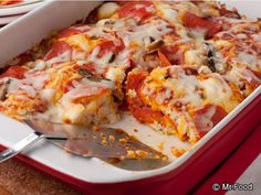 5-Ingredient Pizza Bake - Pizza as a casserole? Yup, now you can take your favorite food anywhere as the perfect potluck dish.