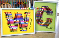 Framed Crayon Monograms for teacher gifts