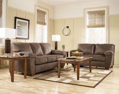Amazon Contemporary Walnut Faux Leather Living Room Set