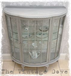 SOLD Vintage bow fronted display cabinet painted in by The Vintage Dove, £205.00.  O