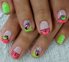 Acrylic Nail Designs, Nail Art Designs, Natural Acrylic Nails, Crazy Nails, Nail Decorations, Nail Tips, Hair And Nails, Ladybug, Nail Colors