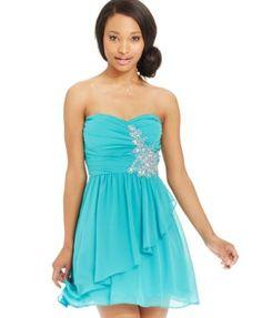 B Darlin Juniors' Strapless A-Line Dress