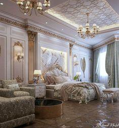 Luxury Bedroom Design, Luxury Rooms, Room Design Bedroom, Luxurious Bedrooms, Fancy Bedroom, Bedroom Vintage, Rich Girl Bedroom, Royal Room, Mansion Bedroom