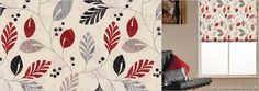Contemporary Red, Black, Grey, Beige & Cream Leaves Patterned Roller Blinds from English Blinds. A modern stylish natural design. Wooden Window Blinds, Vertical Window Blinds, Bali Blinds, Bamboo Blinds, Cheap Blinds, Kitchen Blinds, Blinds Design, House Blinds, Beige Background