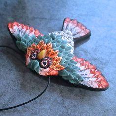 https://flic.kr/p/t7FuwF   Salmon & Sage Winged Owl Pendant/Brooch by Deb Hart