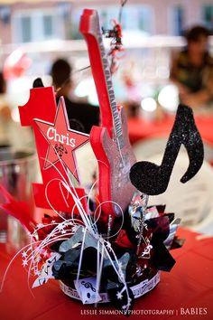 Simple Music Theme Party Centerpiece Idea Flower