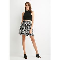 Forever 21 Women's  Crinkled Abstract Splatter Skirt ($18) ❤ liked on Polyvore featuring skirts, white knee length skirt, full length skirt, forever 21, pattern skirt and crinkle skirt