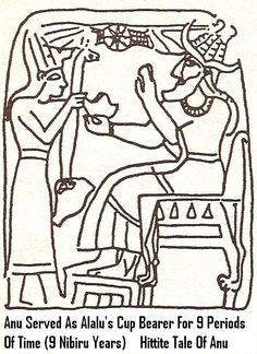 2 - Hittite artefact of young Anu as Alalu's cup-bearer, from a Hittite text, Anu served Alalu on Nibiru for 9 periods (orbits), agreeing to be next in line for kingship after Alalu, planet Nibiru goverened under a 1 world order formed throuh world wars, with a single king to rule all, Alalu or Anu as dictator