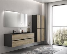 Bathroom Cabinet with Wooden Front, GB Extreme Group Source by richardsonfr Floating Bathroom Vanities, Modern Bathroom Cabinets, Bathroom Furniture, Vanity Bathroom, Bad Inspiration, Bathroom Inspiration, Linen Cabinets, Wooden Facade, Cabinet Design