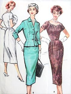 1950s CLASSY Slim Dress and Fitted Jacket Pattern McCALLS 4447 Beautiful Neckline Day or Evening  Cocktail Party Bust 35 Vintage Sewing Pattern FACTORY FOLDED