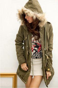 Women's Fur embellished Hooded Buttons Long Coat Sage - BuyTrends.com