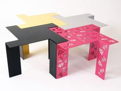 together to save space or separately. Inspired by origami folds and traditional Japanese patterns and are powdercoated milk steel and laser cut.
