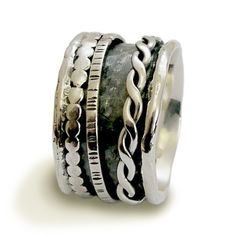 Stacking  bands - Sterling silver meditation wedding band with spinners - Coming on strong.. $136.00, via Etsy.