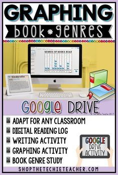 Graphing Book Genres in Google Slides is a digital writing activity that can be adapted for a variety of grade levels. Use this as a whole class or as individual DIGITAL reading logs! Can be used with iPads, Chromebooks, laptops, and desktop computers. Makes a great activity for Reading Month!