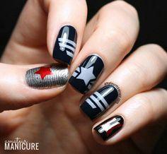 Captain America: The Winter Soldier Nail Art via Totten Totten Napoli Manicure Marvel Nails, Avengers Nails, Marvel Avengers, Captain Marvel, Marvel Funny, Marvel Art, Marvel Comics, Nails Gelish, Manicure