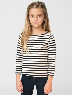 American Apparel - Kids Sailor Stripe Long Sleeve Pullover