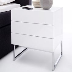 Strada Contemporary Bedside Cabinet In White High Gloss With Chrome Legs With 3 Drawers, offers a modern style that will suit in any style of bedroom. This Bedside Table is crafted from White high . White Gloss Bedside Table, Black Bedside Cabinets, Modern Bedside Table, Modern Bedroom Furniture, Bedside Tables, Nightstand, Dresser, Sofa Table With Drawers, Set Of Drawers